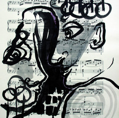 Zeichnung auf Notenpapier
