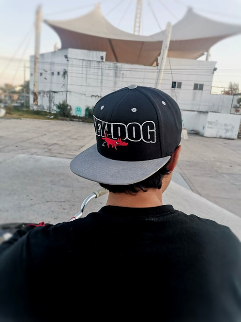 Snapback Hey! Dog Letters Gris Negro