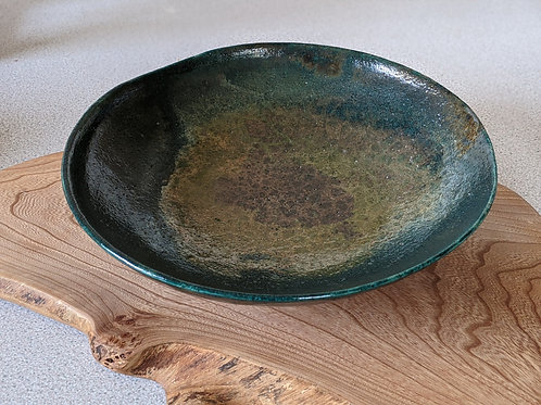 Large wheel thrown raku fired platter