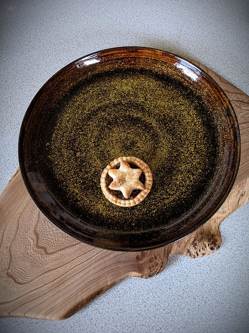 Wheel thrown Temmoku gold stoneware platter