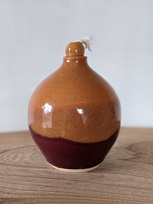 Medium stoneware oil lamp