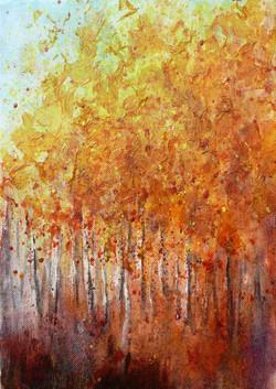 Autumn Birch Trees Mixed Media 20 x 30cm