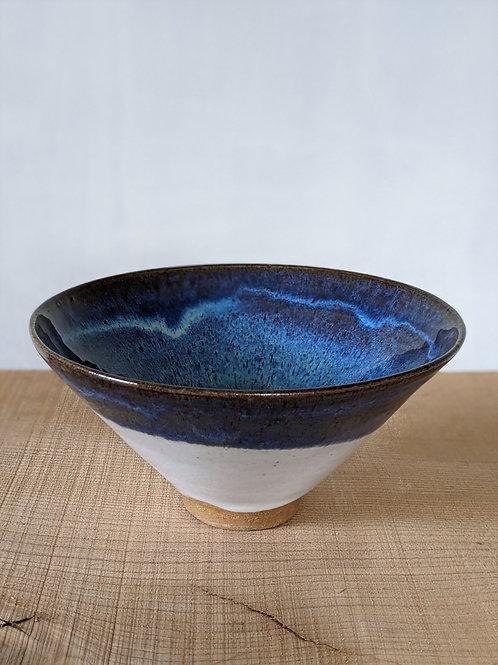 Wheel thrown conical glazed bowl