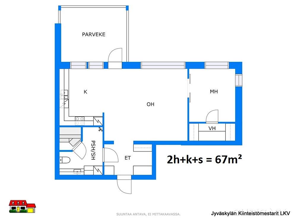 Pohjakuva  67 m²  2h + k + s + p