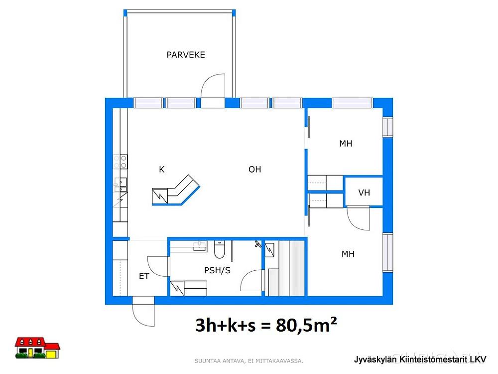 Pohjakuva  80,5 m²  3h + k + s + p