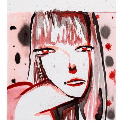 נערה באדום איור