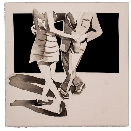 זוג רוקד ציור צבעי מים סקצ'