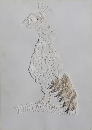 ציור מהרבה חתיכות נייר של טווס