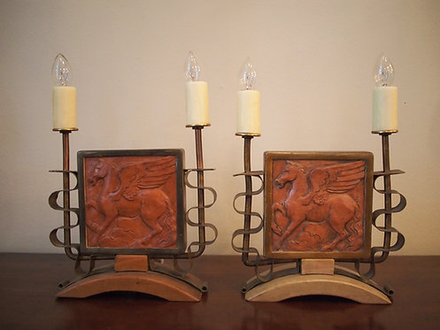 French Art Deco Potter Tiles Mounted as Lamps