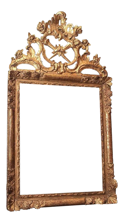 LARGE 18C LOUIS XV GILTWOOD MIRROR