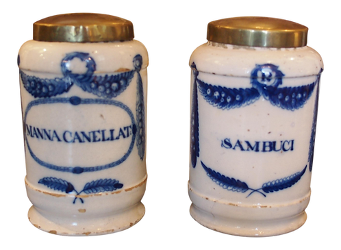 PAIR OF 18TH C. BLUE AND WHITE APOTHECARY JARS