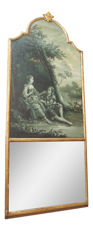 A LARGE, EARLY 18th CENTURY TRUMEAU WITH A GRISAILLE PAINTING