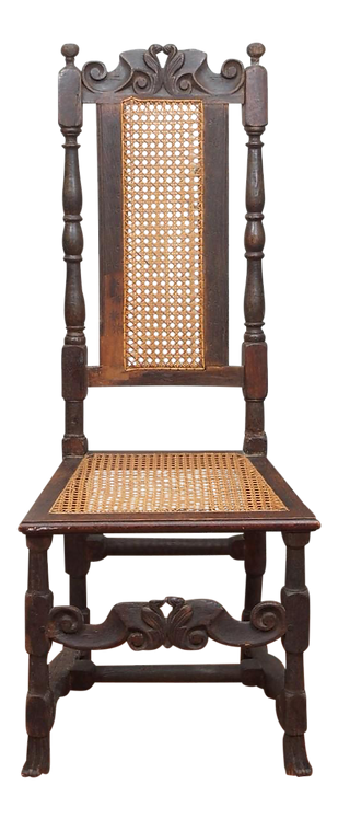 17TH CENTURY CANE AND OAK SIDE CHAIR