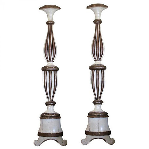 "PAIR OF COLUMNS IN ""PRICKET STICK"" FORM"