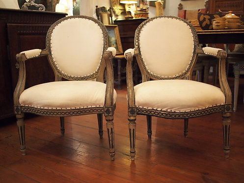 Pair of white and blue painted Louis XVI chairs