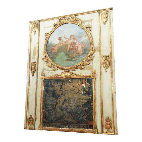 PERIOD LOUIS XVI POLYCHROME TRUMEAU MIRROR
