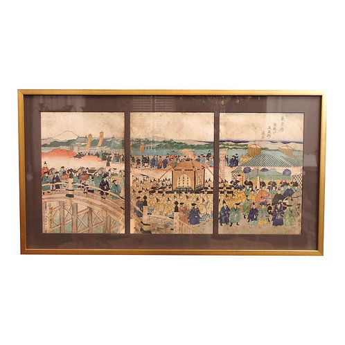 19C JAPANESE WOODBLOCK PRINT TRIPTYCH, ATTRIBUTED TO KUNITERU, 1829-1874