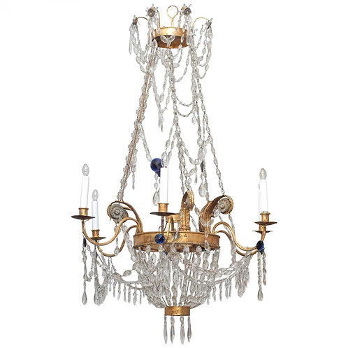 EARLY 19C GILT TOLE AND CRYSTAL CHANDELIER