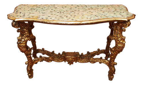 ITALIAN CONSOLE TABLE WITH A WHIMSICAL FAUX PAINTED TOP