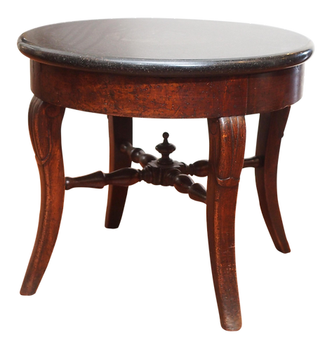 FRENCH ROUND MARBLE TOP SIDE TABLE