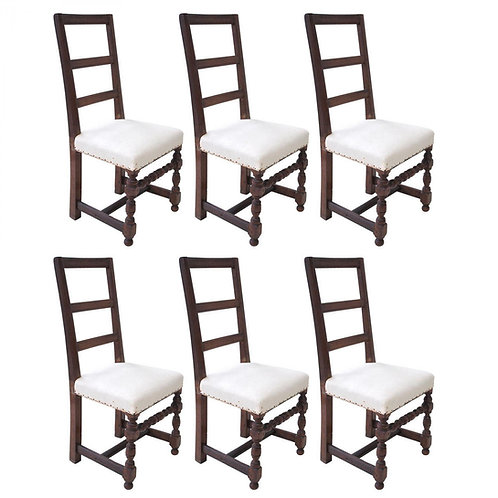 SET OF SIX 18C. WALNUT DINING CHAIRS