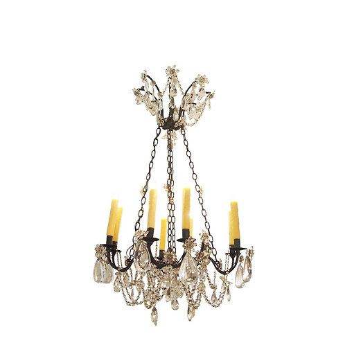 ELEGANT, EBONIZED IRON CHANDELIER WITH TEARDROP CRYSTAL FLOWERS