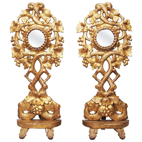 PAIR OF TALL GILTWOOD RELIQUARIES WITH MIRRORS