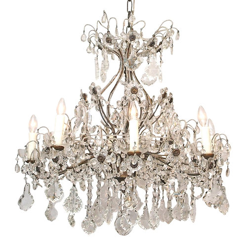 EIGHT LIGHT CRYSTAL CHANDELIER WITH FLOWERS ON FLEXIBLE STEMS