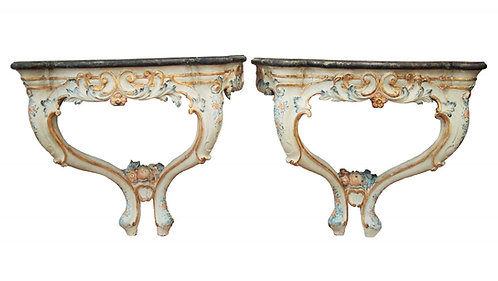 PAIR OF POLYCHROME ROCOCO CONSOLES