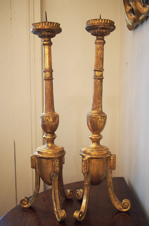 Pair of Louis XVI Giltwood Candlesticks