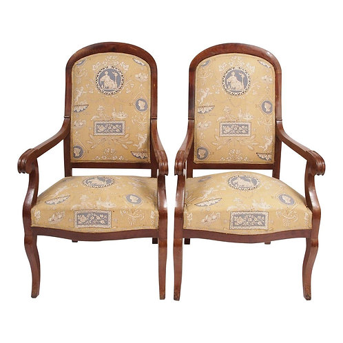 PAIR OF LOUIS PHILIPPE CHAIRS IN TOILE
