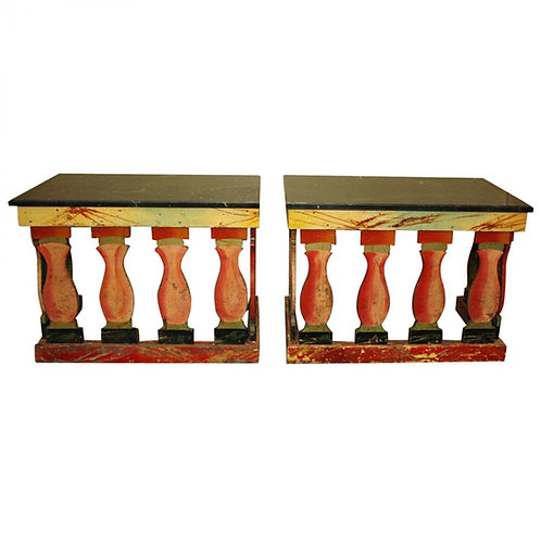 PAIR OF POLYCHROME CONSOLE TABLES