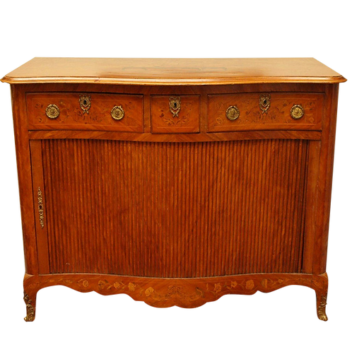 DUTCH MARQUETRY TAMBOUR CABINET