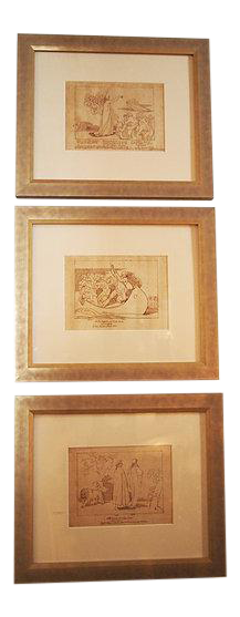 Three Pen and Ink Drawings after Flaxman's for Dante's Divine Comedy