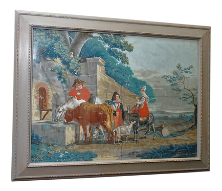 "LARGE EARLY 19th CENTURY GOUACHE PAINTING, ""BY THE WATER TROUGH"""