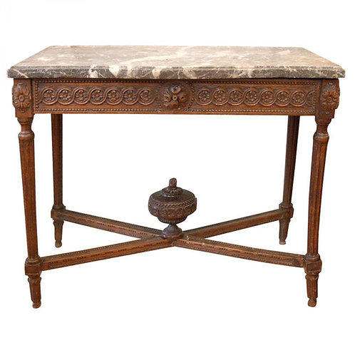 LOUIS XVI MARBLE TOP CONSOLE TABLE
