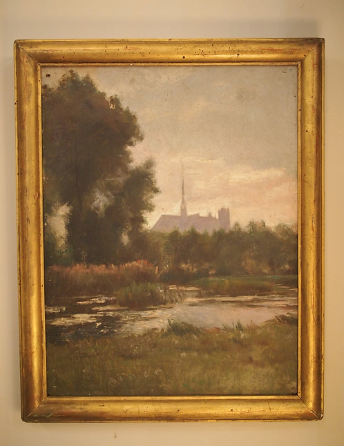 Oil on Canvas Painting of a Pond with Cathedral