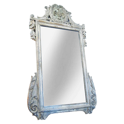 FRENCH PAINTED MIRROR WITH A BIRD MOUNTED CARTOUCHE