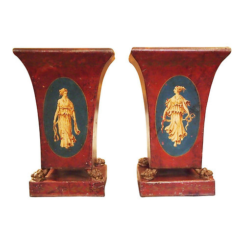 PAIR OF EARLY 19C. NEOCLASSICAL TOLE VASES