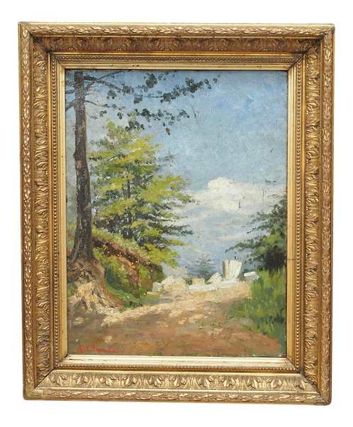 OIL ON CANVAS LANDSCAPE IN A PERIOD FRAME