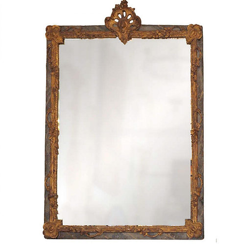 LOUIS XV FINELY CARVED PAINTED AND GILDED MIRROR