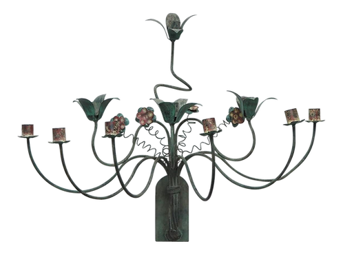 POLYCHROME SCONCES WITH SPRINGY FLOWERS
