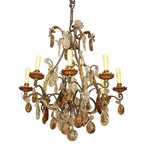 CAGE FRAME EIGHT LIGHT CRYSTAL CHANDELIER