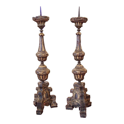 "A PAIR LOUIS XIV TOLE ""PRICKET"" CANDLESTICKS"