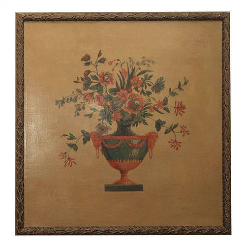 Large Oil Painting of a Flowered Filled Urn