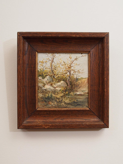 SMALL OIL PAINTING OF A TREE, SIGNED AND DATED 1913