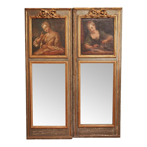 A PAIR OF EARLY 19C. LOUIS XVI STYLE MIRRORS WITH PORTRAITS