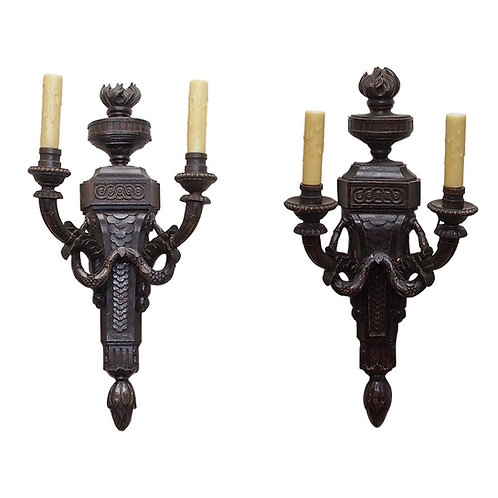 PAIR OF FINELY CARVED WALNUT WALL LIGHTS