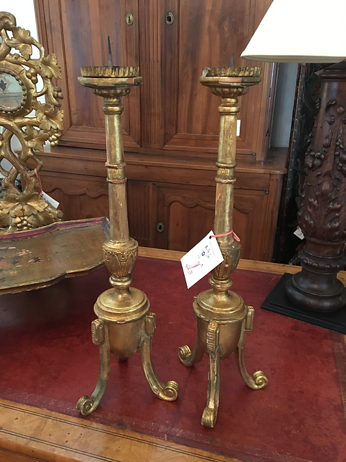 PAIR OF NEOCLASSICAL STYLE GILTWOOD CANDLESTICKS