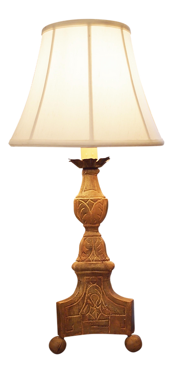 GILTWOOD CANDLESTICK MOUNTED AS A LAMP